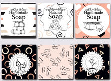Vector set of seamless patterns, labels and logo design templates for handmade natural soap packaging and wrapping paper Royalty Free Stock Photos