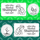 Vector set of seamless patterns, labels and logo design templates for natural herbal shampoo packaging and wrapping. Paper Royalty Free Stock Image