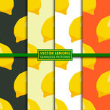 Vector set of seamless patterns with lemons. Royalty Free Stock Images