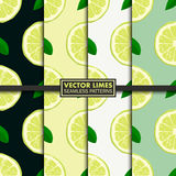 Vector set of seamless patterns with limes. Royalty Free Stock Image