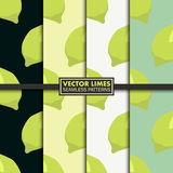 Vector set of seamless patterns with limes. Royalty Free Stock Photo