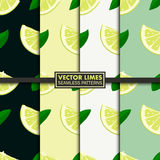 Vector set of seamless patterns with limes. Royalty Free Stock Photos