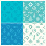Vector set of seamless patterns. With nautical icons and signs - abstract background in trendy mono line style Royalty Free Stock Photos