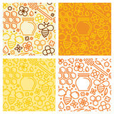 Vector set of seamless patterns and packaging design. Templates with icons in trendy linear style - natural and farm honey royalty free illustration