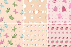 Vector set of seamless patterns in pink. Set of seamless patterns and backgrounds in pink with butterflies, cups, apples, baby dress. Pastel shades, color of a Royalty Free Stock Photos