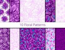 Vector set of seamless patterns vector illustration