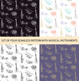 Vector set of 4 seamless patterns with sketch musical instruments Stock Images