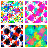 Vector set of seamless patterns, tiles with inc splash, blots, smudge and brush strokes. Grunge endless template for web backgroun Stock Images