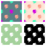 Vector set of seamless patterns, tiles with inc splash, blots, smudge and brush strokes in the shape of circle. Grunge endless tem Royalty Free Stock Photo