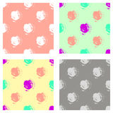 Vector set of seamless patterns, tiles with inc splash, blots, smudge and brush strokes in the shape of circle. Grunge endless tem Royalty Free Stock Photos