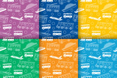 Vector set of seamless patterns with transport Stock Photography