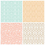 Vector set of seamless patterns in trendy linear style with flow Stock Photos