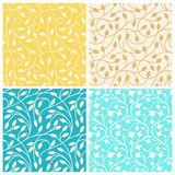 Vector set of seamless patterns in trendy linear style with leav Stock Photography