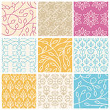 Vector set of seamless patterns in trendy linear style with leav Royalty Free Stock Photos