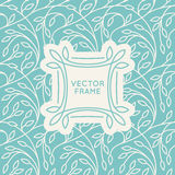 Vector set of seamless patterns in trendy linear style. With leaves and frame with copy space for text - backgrounds for websites and packaging for cosmetics royalty free illustration
