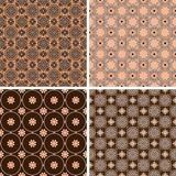 Set of seamless patterns in trendy mono line style Royalty Free Stock Images
