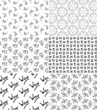 Vector set of seamless patterns stock image
