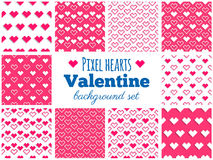 Vector set of seamless pixel heart patterns for Valentine's Day Stock Image