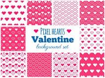 Vector set of seamless pixel heart patterns for Valentine's Day. Vector set of seamless pixel art heart patterns for Valentine's Day Stock Image