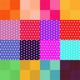 Vector set of 16 seamless polka dot patterns. Bright colorful backgrounds Stock Photos