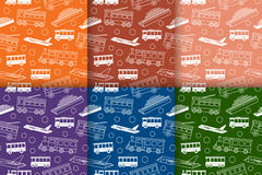 Vector set of seamless retro patterns with transport. Set of seamless patterns with different types of transport - bus, tram, trolleybus, train, ship and Stock Photos