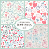 Vector set of seamless romantic bicycle patterns Stock Image