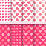 Vector set of seamless romantic love patterns Royalty Free Stock Photo