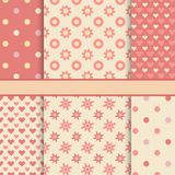 Vector set of seamless romantic vector patterns (tiling) Stock Photos