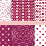 Vector set of seamless romantic vector patterns Royalty Free Stock Images
