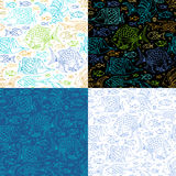 Vector set of seamless sea fish patterns. Royalty Free Stock Photo