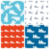 Vector set of seamless shoes patterns. Royalty Free Stock Photography
