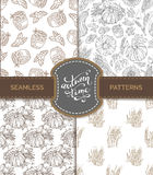 Vector set of seamless sketch autumn patterns. Royalty Free Stock Image