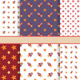 Vector set of seamless space vector patterns (tiling) Royalty Free Stock Photography