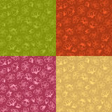 Vector set of seamless spring flower patterns. Hand-drawn contours of flowers from fruit trees on coloured background. Duotone boundless backgrounds Royalty Free Stock Photos
