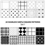 Vector set of seamless square patterns Royalty Free Stock Images