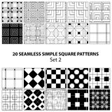 Vector set of seamless square patterns Royalty Free Stock Photos