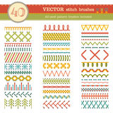 Vector set of seamless stitch brushes. Royalty Free Stock Photos