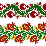 Vector set of seamless tape pattern with flowers and pomegranates, in ethnic national style of Uzbekistan. Stock Photography