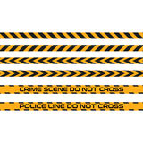 Vector set of seamless tapes, Police Line do not cross. Danger zone, warning Royalty Free Stock Photo