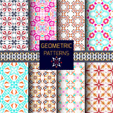 Vector set of seamless textures. Collection of geometric patterns Royalty Free Stock Photo