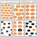 Vector set of seamless textures with pumpkins. For Halloween Royalty Free Stock Images