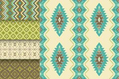 Vector set of seamless textures. Tribal geometric patterns. Aztec ornamental style. Ethnic native American Indian ornaments. vector illustration