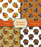 Vector set of seamless Thanksgiving patterns. Royalty Free Stock Images