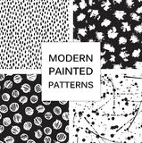 Vector set. Seamless trendy modern brush patterns. Stock Photos