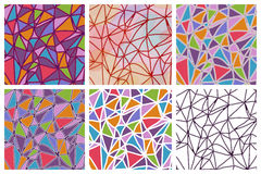 Vector set of seamless triangles patterns Stock Photos