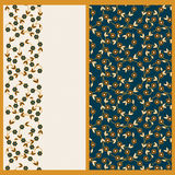 Vector set with seamless vector pattern with floral decoration and a card with the same flowers. Vector set with seamless vector blue pattern with floral Royalty Free Stock Images