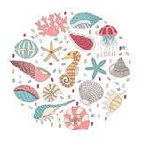 Vector set of seashells, starfish and seahorses Royalty Free Stock Photos