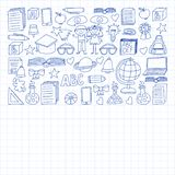 Vector set of secondary school icons in doodle style. Painted, drawn with a pen, on a sheet of checkered paper on a white vector illustration