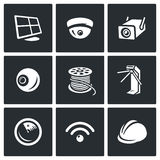 Vector Set of Security Installation Icons. Computer, Surveillance Camera, Outdoor, Eye, Tail, Turnstile, radar, radio Royalty Free Stock Photos