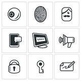 Vector Set of Security Technology Icons.. Eye, Finger, Holder, Smartphone Computer Speaker Lock Key Autograph Royalty Free Stock Images